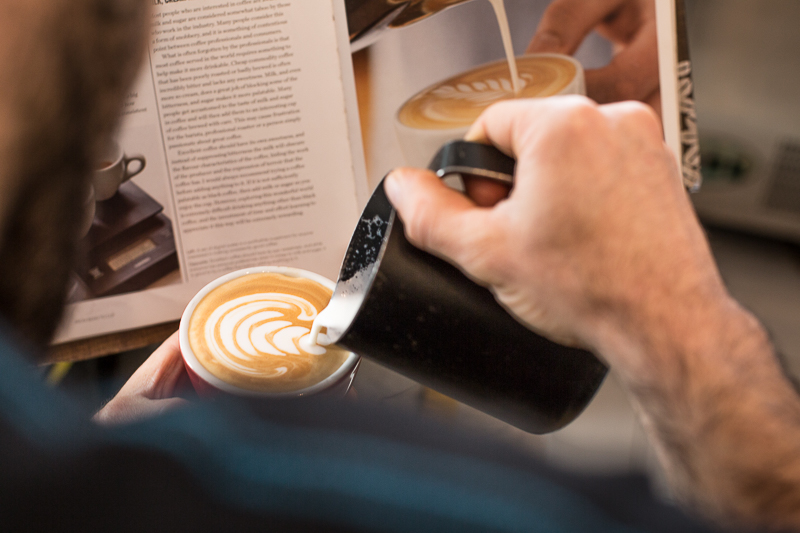 Pouring a Latte Art at Cafe Nahat